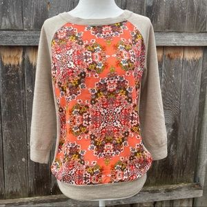 J Crew Beige 3/4 Sleeved Sweater w/ Floral Front